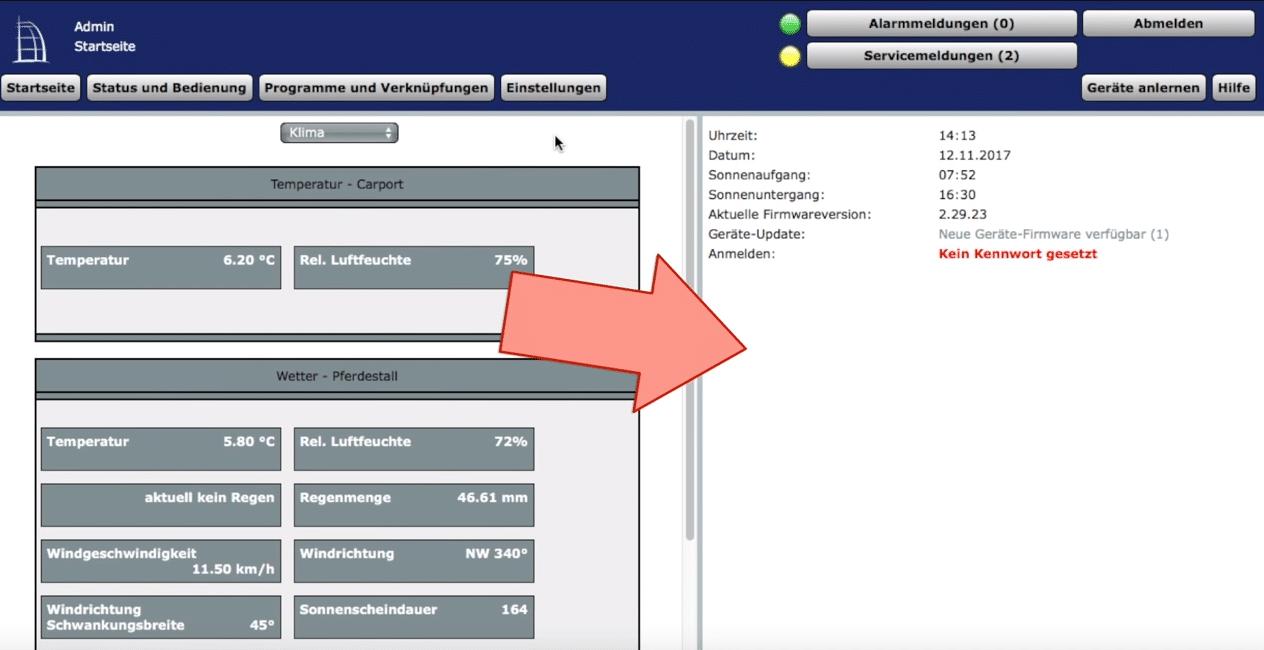 Systemvariable auf Startseite anzeigen