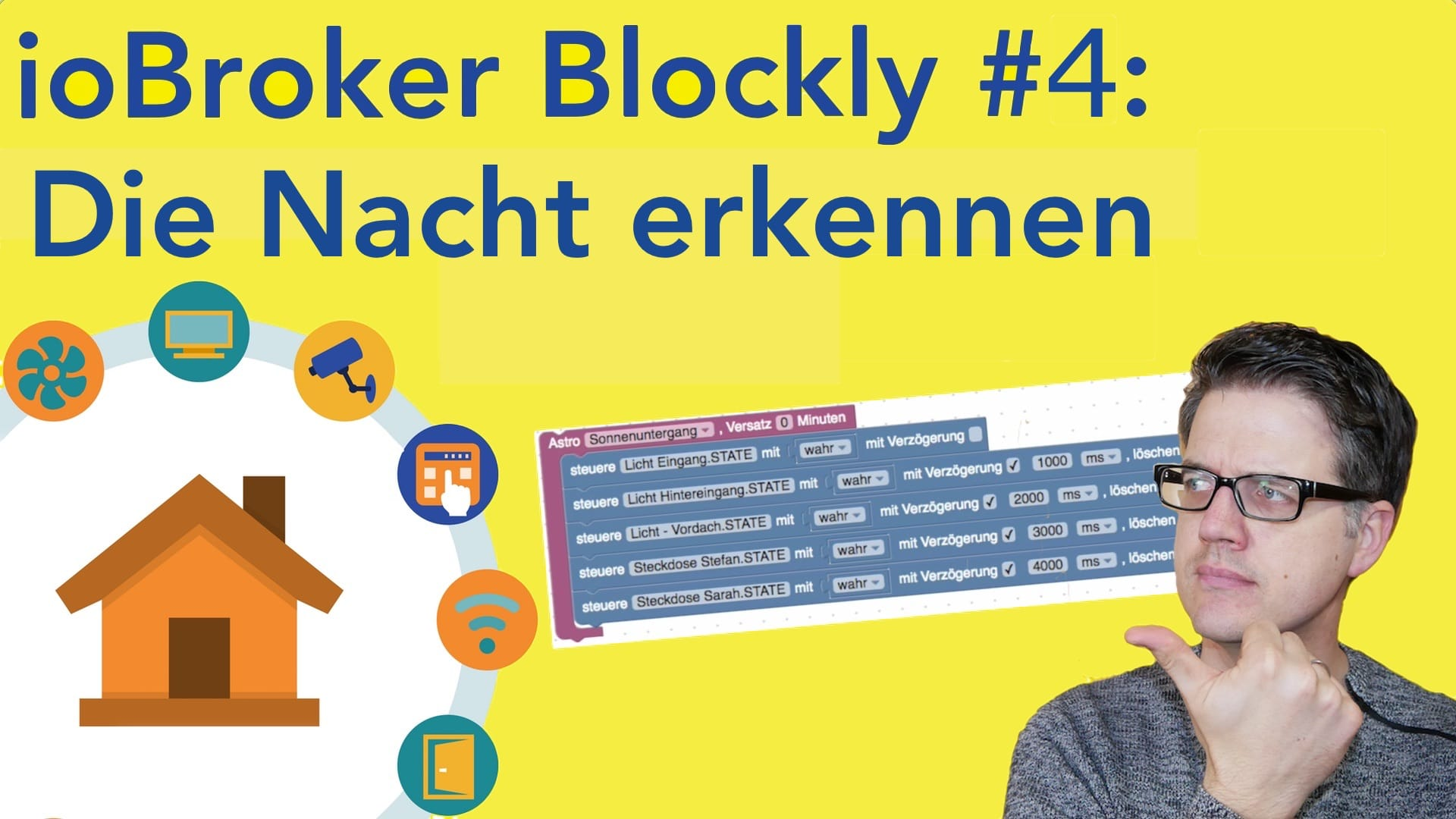 Blockly – Aussenlicht steuern – Die Nacht erkennen